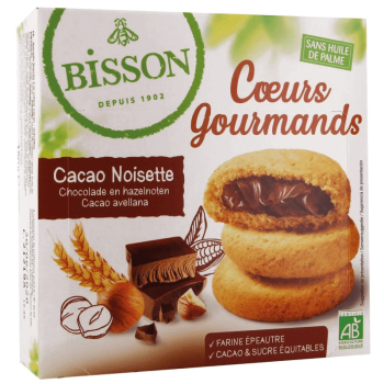Coeurs cacao/noisettes 180g...